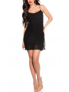 Sexy pleated mini dress with chain carriers ΜΑΥΡΟ