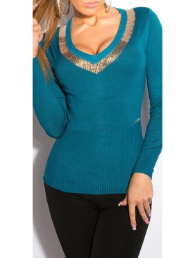 Sexy v-cut-sweater IN-037 καπουτσινο